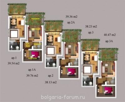Сдается небольшой апартамент в Созополь 2 мал.комнаты  - квартира 1А.jpg